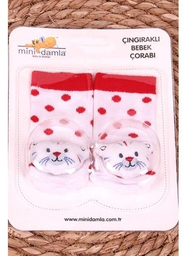 Breeze Çıngıraklı Puantiyeli Hayvancık Aksesuarlı Yenidoğan Bebek Çorap Kırmızı